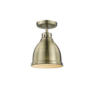 Duncan Aged Brass One-Light Flush Mount with Aged Brass Shade
