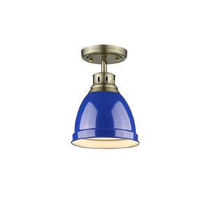 Duncan Aged Brass One-Light Flush Mount with Blue Shade