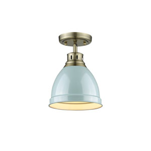 Duncan Aged Brass One-Light Flush Mount with Seafoam Shade