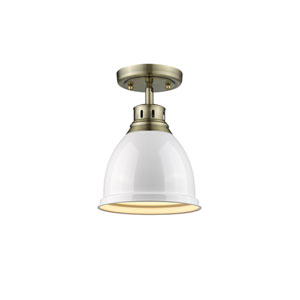 Duncan Aged Brass One-Light Flush Mount with White Shade
