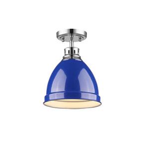 Duncan Chrome One-Light Semi-Flushmount with Blue Shade
