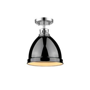 Duncan Chrome One-Light Semi-Flushmount with Black Shade