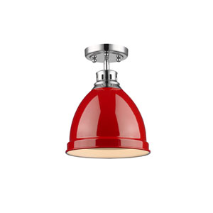 Duncan Chrome One-Light Semi-Flushmount with Red Shade