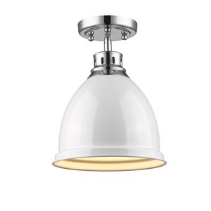 Duncan Chrome One-Light Semi-Flushmount with White Shade