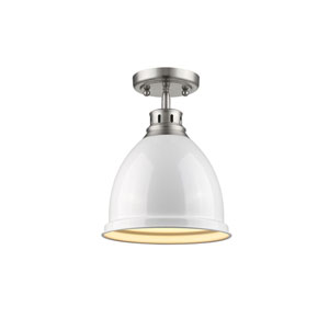Duncan Pewter One-Light Semi-Flushmount with White Shade