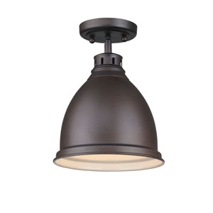 Duncan Rubbed Bronze One-Light Semi-Flushmount