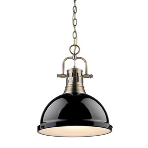 Duncan Aged Brass 16.5-Inch One Light Pendant with Black Shade