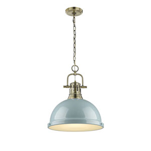 Duncan Aged Brass One-Light Pendant with Seafoam Shade