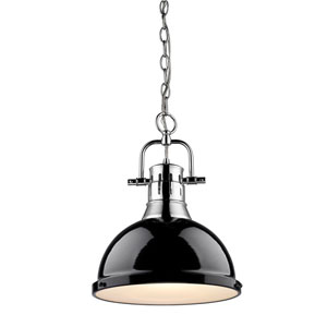 Duncan Chrome 14-Inch One Light Pendant with Black Shade