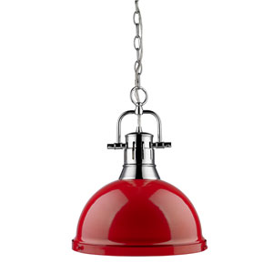 Duncan Chrome 14-Inch One Light Pendant with Red Shade
