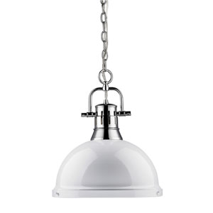 Duncan Chrome 14-Inch One Light Pendant with White Shade