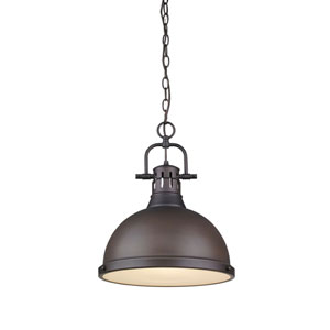 Duncan Rubbed Bronze One-Light 17-Inch High Pendant with Rubbed Bronze Shade