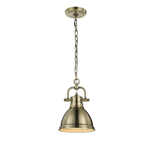 Duncan Aged Brass One-Light Mini Pendant with Aged Brass Shade