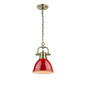 Duncan Aged Brass One-Light Mini Pendant with Red Shade