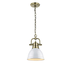 Duncan Aged Brass One-Light Mini Pendant with White Shade