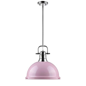 Duncan Chrome One-Light Pendant with Pink Shade
