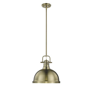 Duncan Aged Brass One-Light Pendant with Aged Brass Shade