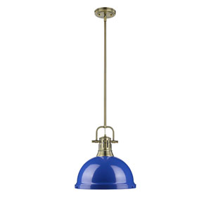 Duncan Aged Brass One-Light Pendant with Blue Shade