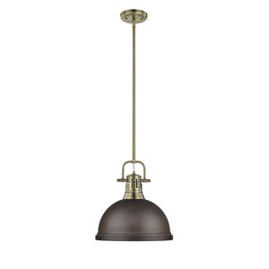 Duncan Aged Brass One-Light Pendant with Rubbed Bronze Shade