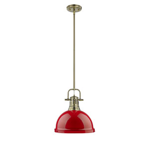Duncan Aged Brass One-Light Pendant with Red Shade