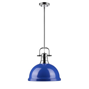 Duncan Chrome One-Light Pendant with Blue Shade
