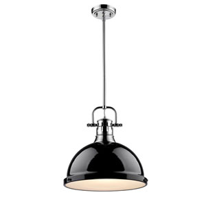 Duncan Chrome One-Light Pendant with Black Shade