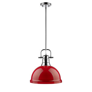 Duncan Chrome One-Light Pendant with Red Shade