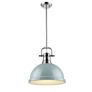 Duncan Chrome One-Light Pendant with Seafoam Shade