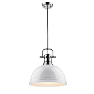 Duncan Chrome One-Light Pendant with White Shade