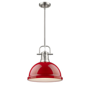 Duncan Pewter One-Light Pendant with Red Shade