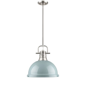 Duncan Pewter One-Light Pendant with Seafoam Shade