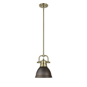 Duncan Aged Brass One-Light Mini Pendant with Rubbed Bronze Shade