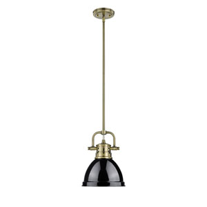 Duncan Aged Brass One-Light Mini Pendant with Black Shade