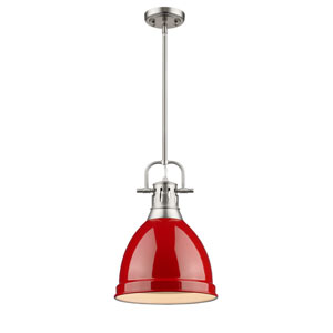 Duncan Pewter One-Light Mini Pendant with Red Shade
