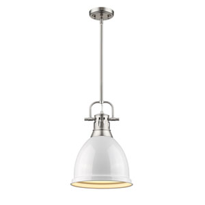 Duncan Pewter One-Light Mini Pendant with White Shade