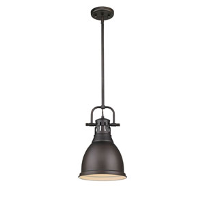 Duncan Rubbed Bronze One-Light 14-Inch High Mini Pendant with Rubbed Bronze Shade