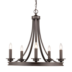 Saldano Rubbed Bronze 28-Inch Five-Light Chandelier