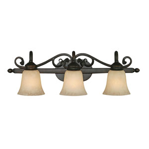 Belle Meade Rubbed Bronze Three-Light Bath Fixture