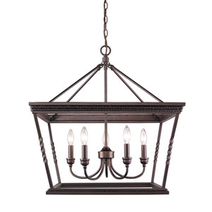 Davenport Etruscan Bronze Five-Light Chandelier