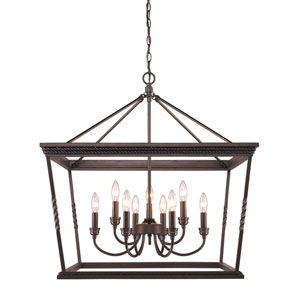 Davenport Etruscan Bronze Nine-Light  Chandelier