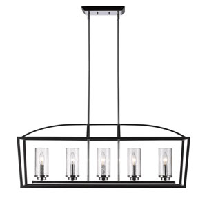 Mercer Black Five-Light Linear Pendant