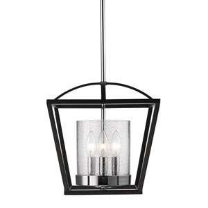 Mercer Black Two-Light Flush Mount with Seeded Glass