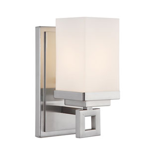 Nelio Pewter One-Light Wall Sconce with Cased Opal Glass