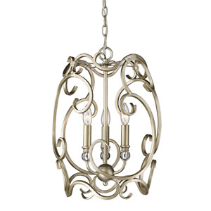 Colette White Gold Three-Light Foyer Pendant