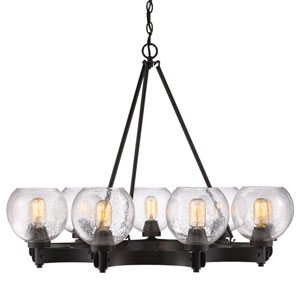 Galveston Rubbed Bronze Nine-Light Chandelier