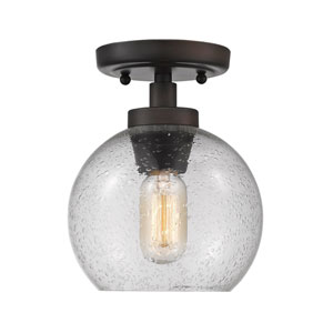 Galveston Rubbed Bronze One-Light Flush Mount with Seeded Glass