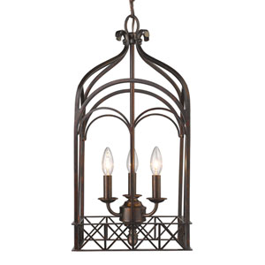 Gateway Fired Bronze Three-Light Foyer Pendant
