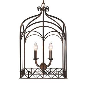 Gateway Fired Bronze Four-Light Foyer Pendant