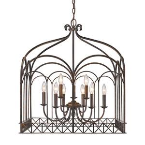 Gateway Fired Bronze Nine-Light Pendant