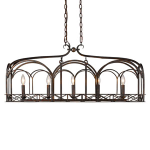 Gateway Fired Bronze Five-Light Linear Pendant